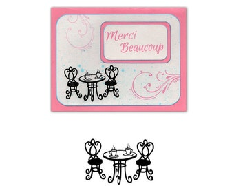 Cafe Table UNMOUNTED rubber stamp, tea for two, friendship, romantic, coffee shop, tea party, Sweet Grass Stamps #22