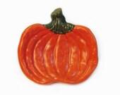 Ceramic Pumpkin Tea Bag Holder Small Spoon Rest or Catch All