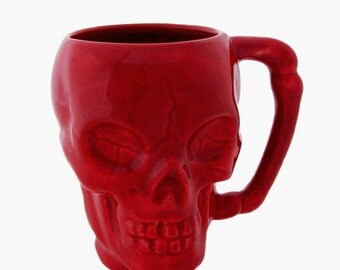 Ceramic Red Skull Mug with Solid Bone Style Handle 8 Ounce Capacity Food Safe Glaze Domestic Slip Cast Ceramics Made in the USA