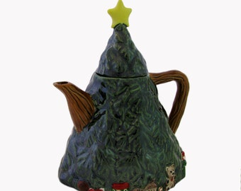 Ceramic Teapot, Christmas Tree Shape with Children's Toys Under the Tree, Winter Holiday Decor Service for Hot Chocolate or Brewing Tea