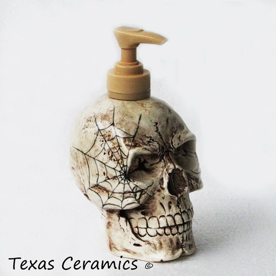 Ceramic Skull Soap Pump Dispenser Aged Look with Spider Cobweb Design for Hauntingly Halloween or Paranormal Decor
