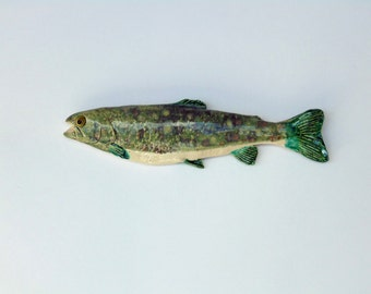 Trout cermic fish art decorative wall hanging