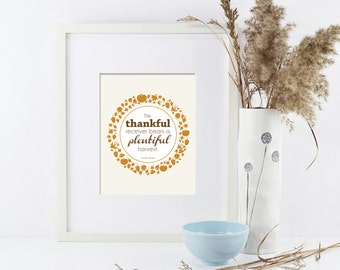 Thankful Receiver Autumn Thanksgiving Printable Wall Art by BitsyCreations Instant Download