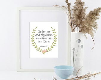Serve the Lord Scripture Printable Wall Art by BitsyCreations Instant Download Bible Verse Joshua