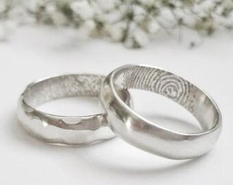 Sterling Silver Half Round Fingerprint Wedding Band