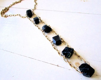 Black Rocks LUXE - Tourmaline Nuggets - ABACUS - Ladder Necklace - Etsy Jewelry - Statement - Necklace - Vintage Gold Chain - Free Shipping