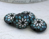 Blue and White Peacock Flower on Brown Lentil Beads Set of 4