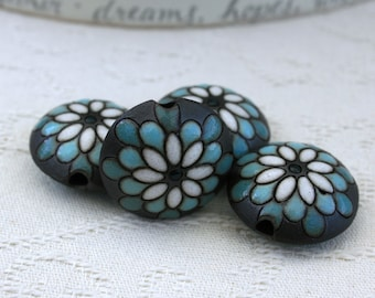 Blue and White Peacock Flower on Brown Lentil Beads - Set of 4