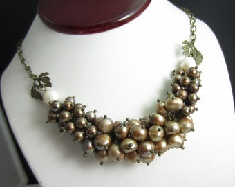 Bronze Freshwater Pearl Necklace in Antiqued Brass
