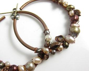 Freshwater Pearl Wrapped Copper Hoop Earrings