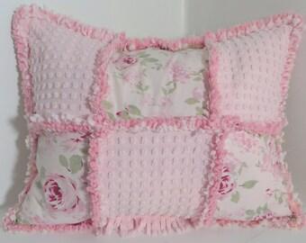 rag quilt vintage chenille pillow shabby cottage chic rachel ashwell morgan jones patchwork