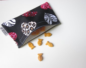 SNACK BAG Animal Print Hearts one Small Waterproof Washable Reusable Snack Bags