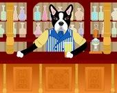 Boston Terrier Dog Bartender Beer Pub Pet Breed Cute Funny Pop Art Print