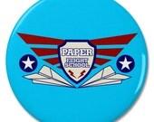 "Paper Airplane Flight School 2.25"" Pinback Pin Button Badge"