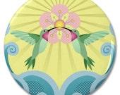 "Hummingbird Blossom 2.25"" Pinback Pin Button Badge"