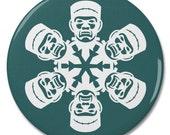 "Frankenstein Monster Snowflake 2.25"" Pinback Pin Button Badge"