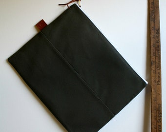 over sized large zipper pouch - olive + olive