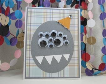 Party Monster - gray orange - gray plaid - monster birthday - googly eyes - googly eyed monster - kids birthday