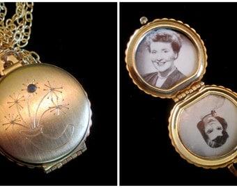 Vintage 4 Picture Locket Necklace - Sapphire Bouquet