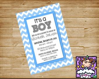 Personalized  Baby Shower Chevron Invitation