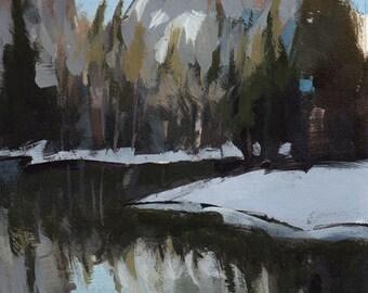 Original Landscape Rocky Mountain Lake Trees Forest - 5x7 by David Lloyd