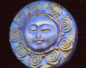 Polymer Clay Abstract  Moon Cab Blue, gold metallic   BLSN 1