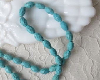 Howlite Turquoise Faceted Oval Beads 6x12mm 16 pcs
