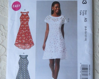 McCalls M6883 Sewing Pattern Dress with Collar Sleeve Variations, Slip, Womens Size A5 6-14