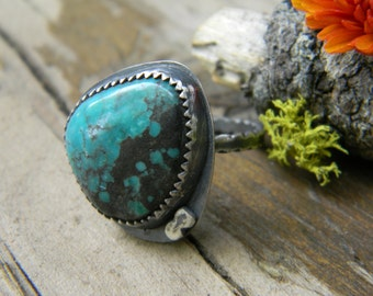 SALE - boulder turquoise ring - size 7 - handmade, oxidized rustic silver