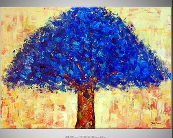 LARGE Tree Painting ORIGINAL Artwork - Blue Tree Art Oil Painting - Ready to Hang - 40x28 by BenWill