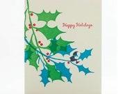 Elf on Holly Branch set of 6 letterpress note cards