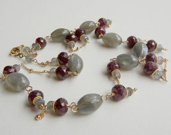 Labradorite and Ruby Parvati Necklace