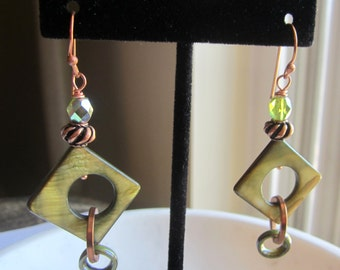 Olive Green and Copper Earrings, Mother of Pearl Earrings, Green Mother of Pearl Earrings, Under 20