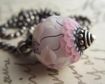 PInk and White Flower Lampwork Bead Necklace, Oxidized Sterling Silver Beaded Necklace, 24 inches,