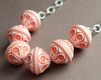 Large Vintage Carved Lucite Bead Necklace - Coral & White - Rhodium Plated Chain
