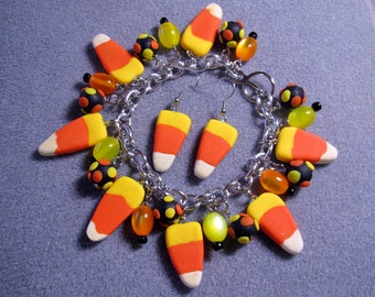Halloween Candy Corn Polymer Clay Junk Food Charm Whimsical Charm Bracelet Earrings Handmade