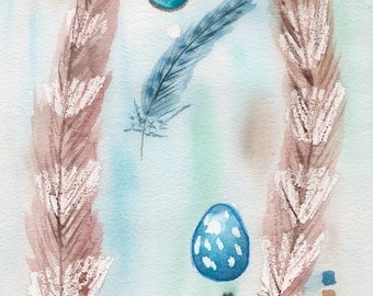 Feather and Egg Study Watercolor