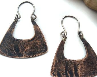 Mixed Metal Earrings - Mixed Metal Jewelry - Small Copper Earrings