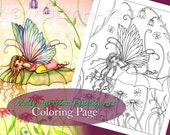 HALF OFF SALE - Spring Bliss - Coloring Page - Printable - Flower Fairy Art - Molly Harrison Fantasy Art - Faires, Cute, Floral