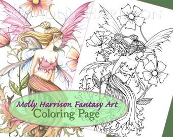 Pink Flower Fairy - Digital Stamp - Printable - Flower Fairy Art - Molly Harrison Fantasy Art - Digistamp Coloring Page - Digi Stamp
