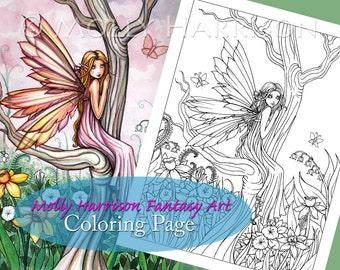 Kit and Clowder RESERVED listing  -  Marta's Garden - Digital Stamp - Printable - Flower Fairy Art - Molly Harrison Fantasy Art