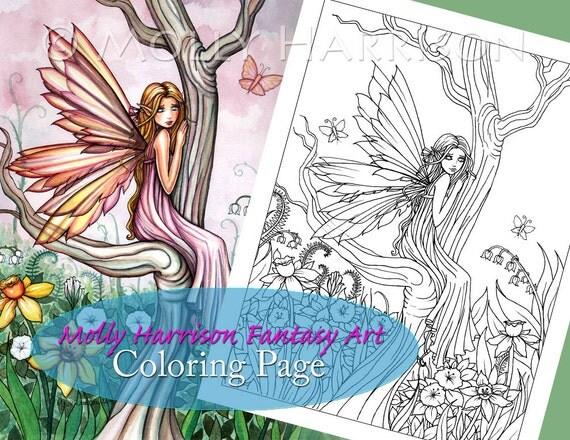 Marta's Garden  - Digital Stamp - Printable - Flower Fairy Art - Molly Harrison Fantasy Art - Digistamp Coloring Page - Digi Stamp