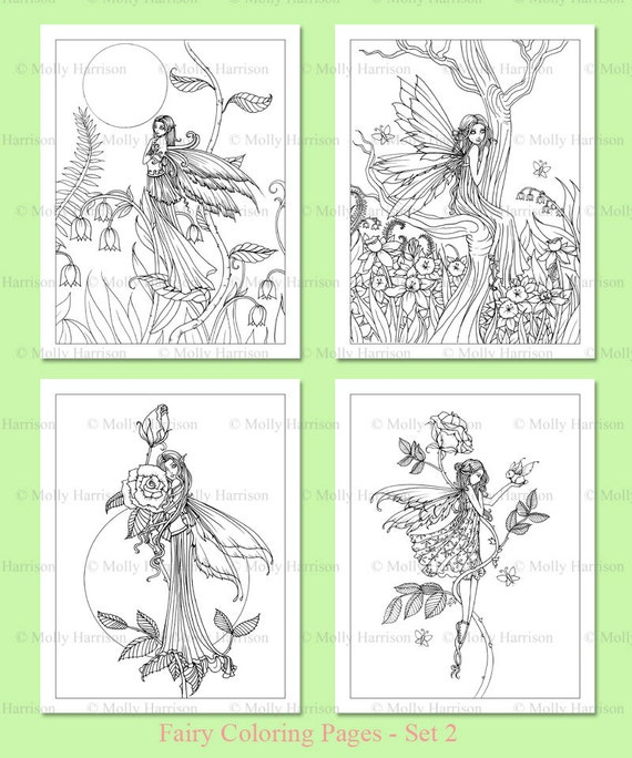 printable flower fairies coloring pages set 2 4 flower fairy illustrations adult coloring pages
