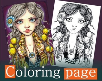 Blue Poppy - COLORING PAGE colouring for adults instant DOWNLOAD printable file fairy princess girl fashion design flower floral fae