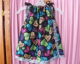 Animal Print Hearts Toddler Dress or Girl's Tunic Top ONE SIZE Fits All from 18 months to girl's 10