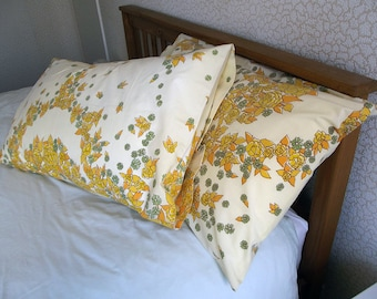 Vintage Pair of Pillowcases - Yellow Flowers