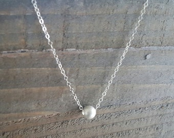 Solitaire Bead Necklace, Sterling Silver Bead Necklace