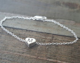 Sterling Silver Initial Heart Bracelet, Initial Bead Bracelet, Initial Stamped Bracelet