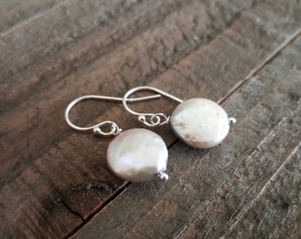 Coin Freshwater Pearl Earrings, Bridal Jewelry