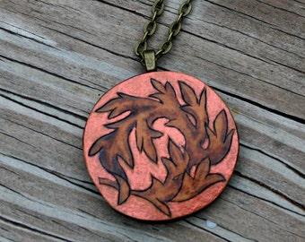 Acanthus Leaf Gourd Pendant Necklace